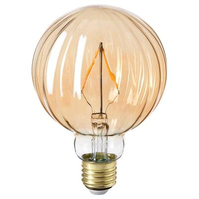 LUNNOM Led-lamppu E27 80 lm, pallo raidallinen/ruskea / kirkas lasi