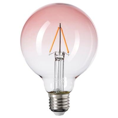LUNNOM Led-lamppu E27 80 lm, pallo roosa lasi