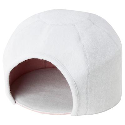 LURVIG Kissankoppi, iglu, vaaleanharmaa/roosa