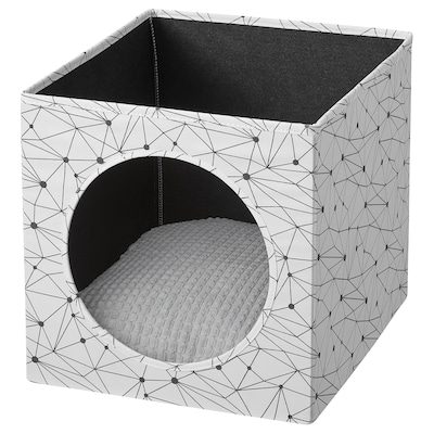 LURVIG Kissatalo + tyyny, valkoinen/vaaleanharmaa, 33x38x33 cm