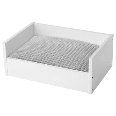 LURVIG Lemmikin peti + tyyny, valkoinen/vaaleanharmaa, 45x69 cm