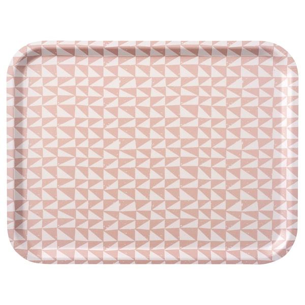 LURVIG Tarjotin, valkoinen/roosa, 43x33 cm