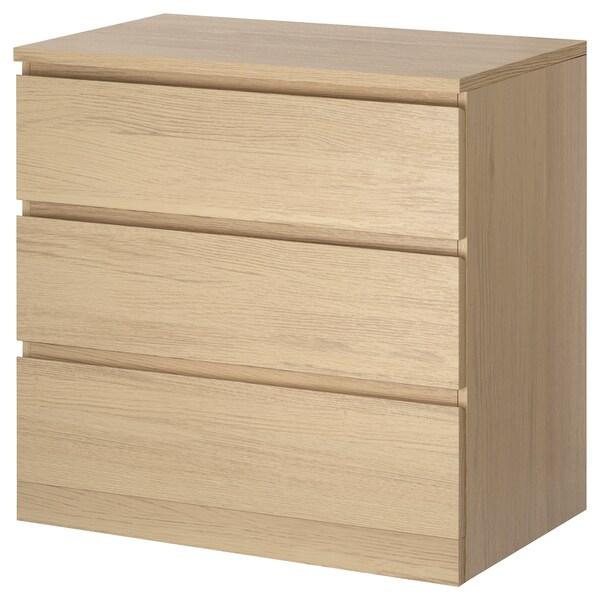 MALM lipasto, 3 laatikkoa vaaleaksi petsattu tammiviilu 80 cm 48 cm 78 cm 72 cm 43 cm