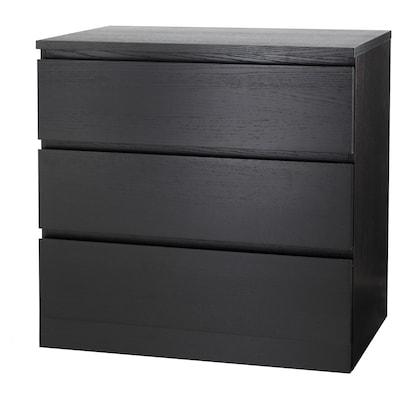 MALM Lipasto, 3 laatikkoa, mustanruskea, 80x78 cm