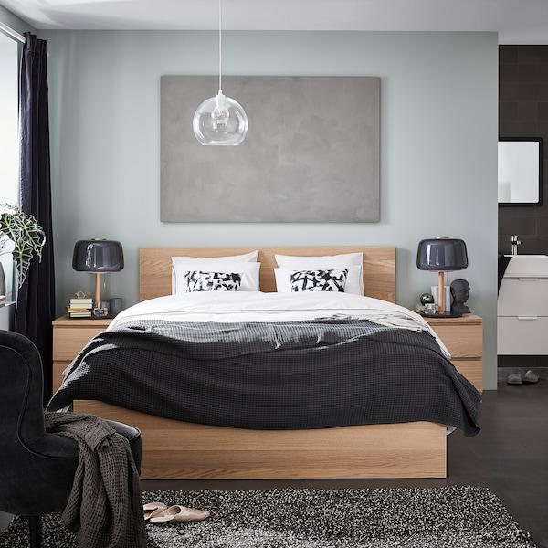 MALM Sängynrunko, vaaleaksi petsattu tammiviilu/Lönset, 140x200 cm
