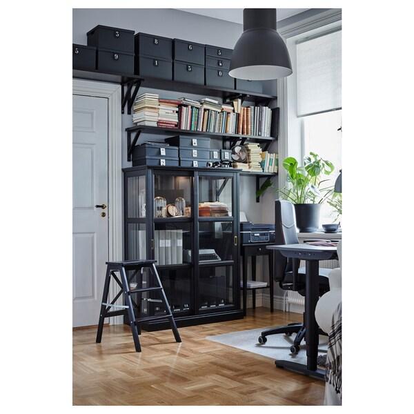 MALSJÖ Vitriinikaappi, mustaksi petsattu, 103x48x141 cm