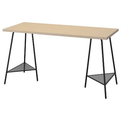 MÅLSKYTT / TILLSLAG Työpöytä, koivu/musta, 140x60 cm