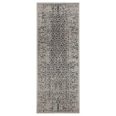 MANSTRUP Matto, matala nukka, harmaa antiikkityyliä/kukkakuvioitu, 80x200 cm