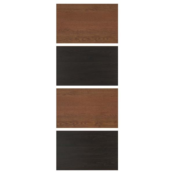 MEHAMN Liukuoven täytelevy, 4 kpl, mustanrusk petsattu saarnikuvio/ruskeaksi petsattu saarnikuvio, 75x201 cm