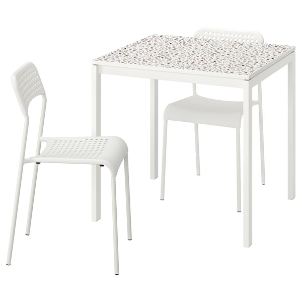 MELLTORP / ADDE Pöytä + 2 tuolia, mosaiikkikuvioitu valkoinen/valkoinen, 75x75 cm