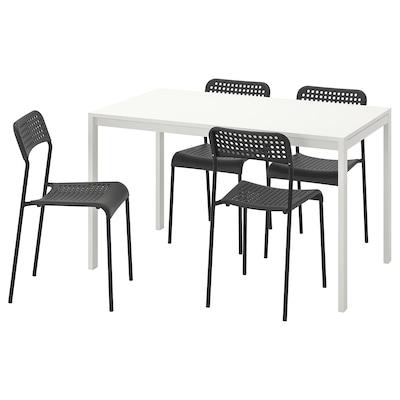 MELLTORP / ADDE Pöytä + 4 tuolia, valkoinen/musta, 125 cm