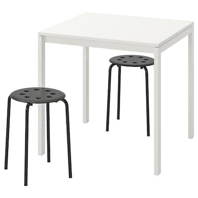 MELLTORP / MARIUS Pöytä ja 2 jakkaraa, valkoinen/musta, 75 cm