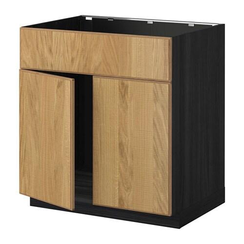 METOD Allaskaappi + 2 ovea etusarja  puukuvioitu musta