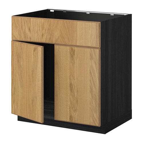 metod allaskaappi 2 ovea etusarja puukuvioitu musta hyttan tammiviilu ikea. Black Bedroom Furniture Sets. Home Design Ideas