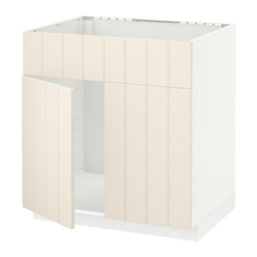 METOD Allaskaappi + 2 ovea etusarja  valkoinen, Hittarp