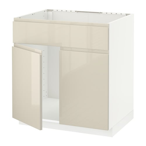 METOD Allaskaappi + 2 ovea etusarja  valkoinen, Voxtorp