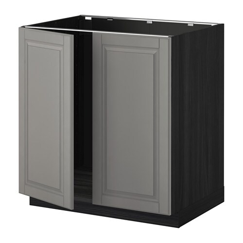 METOD Allaskaappi + 2 ovea  puukuvioitu musta, Bodbyn harmaa  IKEA