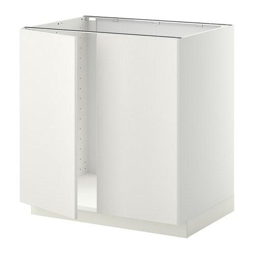METOD Allaskaappi + 2 ovea  valkoinen, Veddinge valkoinen