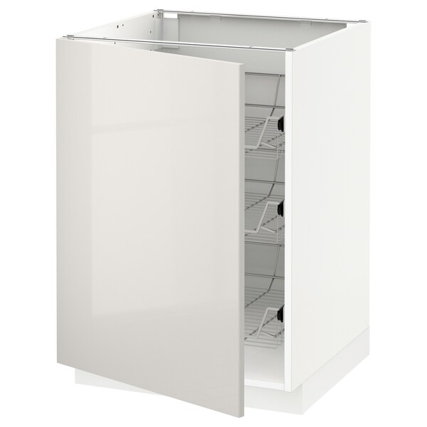 METOD pöytäkaappi ritiläkoreilla valkoinen/Ringhult vaaleanharmaa 60.0 cm 61.8 cm 88.0 cm 60.0 cm 80.0 cm