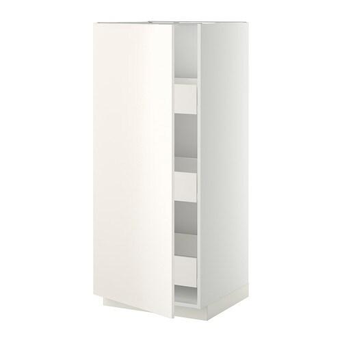 METOD  FÖRVARA Korkea kaappi, laatikot  valkoinen, Veddinge valkoinen  IKEA