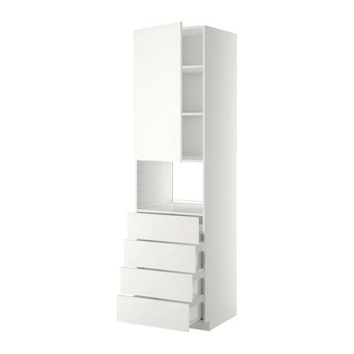 METOD  FÖRVARA Korkea kaappi mikrolle ovi 4 laat  valkoinen, Häggeby valkoi