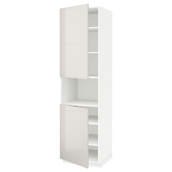 METOD korkea kaappi mikrolle 2 ovea/hl valkoinen/Ringhult vaaleanharmaa 60.0 cm 61.8 cm 228.0 cm 60.0 cm 220.0 cm