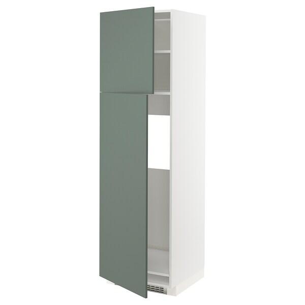METOD korkea kaappi jääkaapille 2 ovea valkoinen/Bodarp harmaanvihreä 60.0 cm 61.6 cm 208.0 cm 60.0 cm 200.0 cm