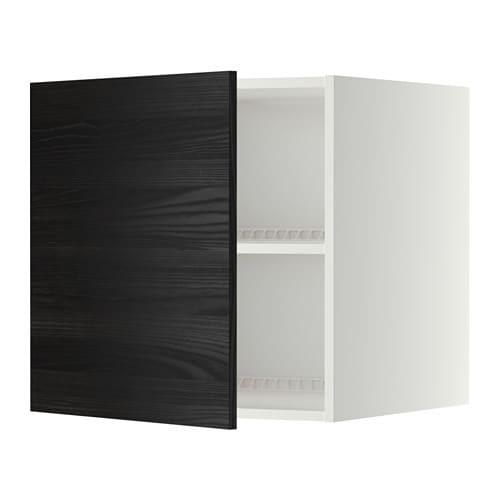 METOD Jää pakastinkaapin yläkaappi  valkoinen, Tingsryd puukuvioitu musta,
