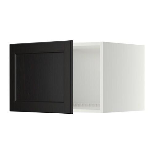 METOD Jää pakastinkaapin yläkaappi  valkoinen, Laxarby mustanruskea, 60×40
