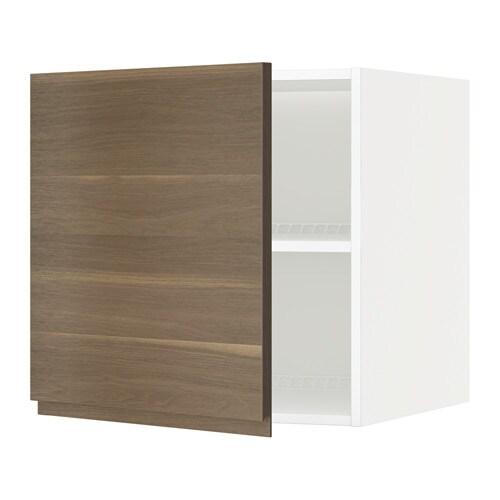 METOD Jää pakastinkaapin yläkaappi  valkoinen, Voxtorp pähkinäpuukuvio, 60x