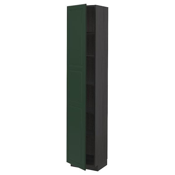 METOD Korkea kaappi hyllyillä, musta/Bodbyn tummanvihreä, 40x37x200 cm