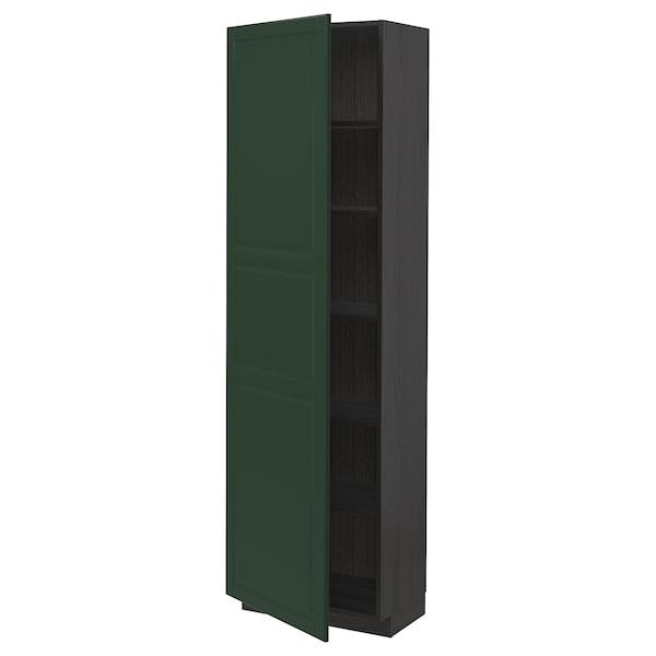 METOD Korkea kaappi hyllyillä, musta/Bodbyn tummanvihreä, 60x37x200 cm
