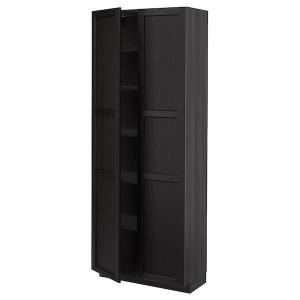 METOD Korkea kaappi hyllyillä, musta/Lerhyttan mustaksi petsattu, 80x37x200 cm