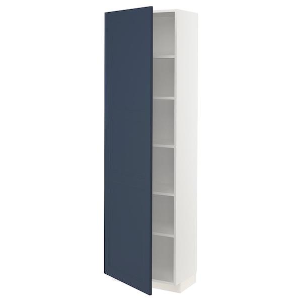 METOD Korkea kaappi hyllyillä, valkoinen Axstad/matta sininen, 60x37x200 cm