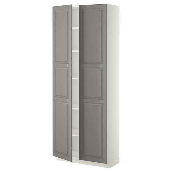 METOD Korkea kaappi hyllyillä, valkoinen/Bodbyn harmaa, 80x37x200 cm