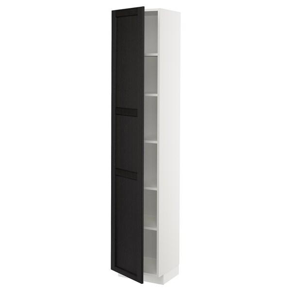 METOD Korkea kaappi hyllyillä, valkoinen/Lerhyttan mustaksi petsattu, 40x37x200 cm