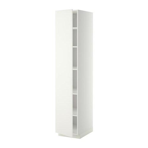 METOD Korkea kaappi hyllylevyillä  valkoinen, Häggeby valkoinen, 40x60x200 c