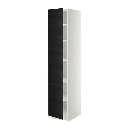 METOD Korkea kaappi hyllylevyillä  valkoinen, Tingsryd puukuvioitu musta, 40