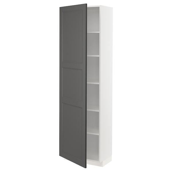 METOD Korkea kaappi hyllylevyillä, valkoinen/Axstad tummanharmaa, 60x37x200 cm
