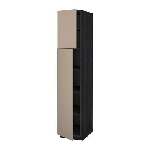metod korkea kaappi hyllylevyt 2 ovea puukuvioitu musta ubbalt tumma beige 40x60x200 cm ikea. Black Bedroom Furniture Sets. Home Design Ideas