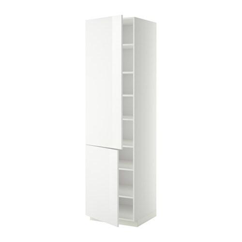 METOD Korkea kaappi+hyllylevyt 2 ovea  valkoinen, Ringhult korkeakiilto valk