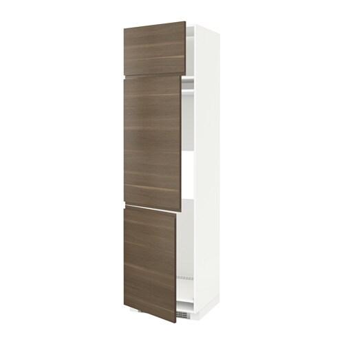 METOD Korkea kaappi jääk pak + 3 ovea  valkoinen, Voxtorp pähkinäpuukuvio, 6