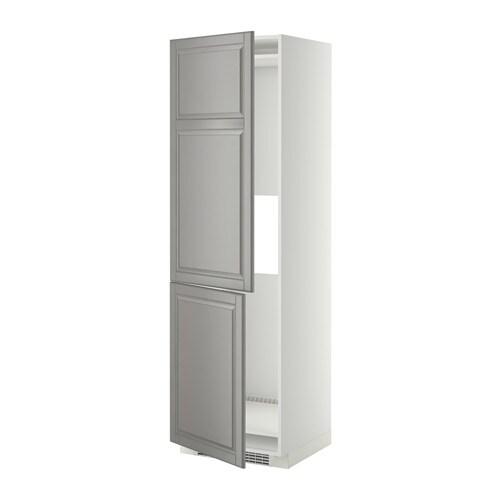 METOD Korkea kaappi jääkaap pakast 2 ov  valkoinen, Bodbyn harmaa, 60x60x200