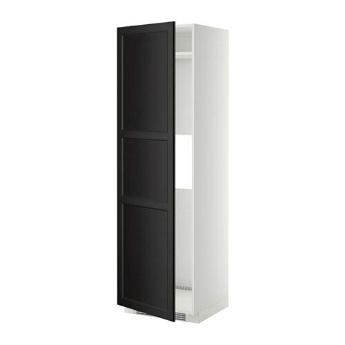 METOD Korkea kaappi jääkaap pakast ovi  valkoinen, Laxarby mustanruskea  IKEA
