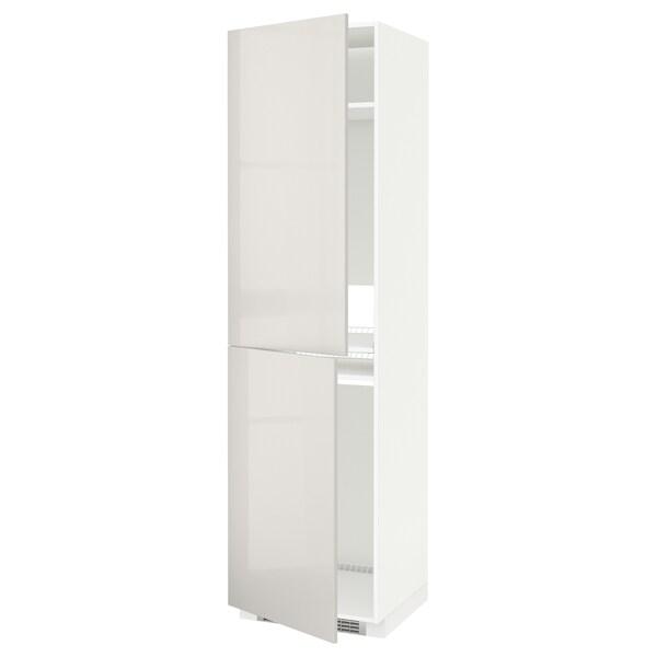 METOD Korkea kaappi jää-/pakastinkaap, valkoinen/Ringhult vaaleanharmaa, 60x60x220 cm
