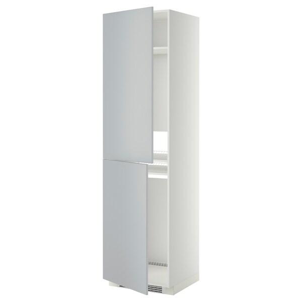 METOD Korkea kaappi jää-/pakastinkaap, valkoinen/Veddinge harmaa, 60x60x220 cm