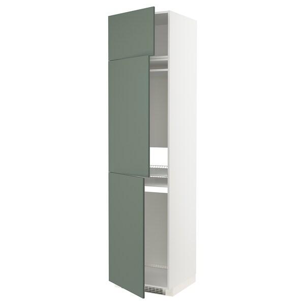METOD Korkea kaappi jääkaap/pakast 3o, valkoinen/Bodarp harmaanvihreä, 60x60x240 cm