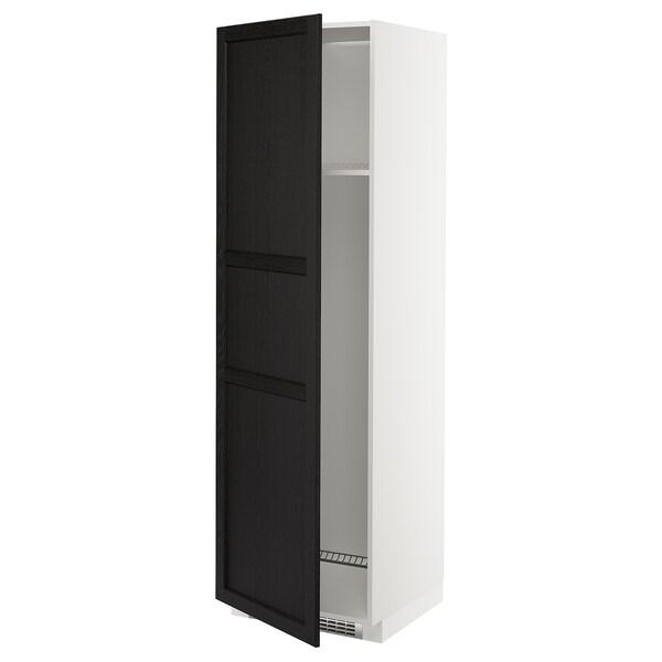 METOD Korkea kaappi jääkaap/pakast/ovi, valkoinen/Lerhyttan mustaksi petsattu, 60x60x200 cm