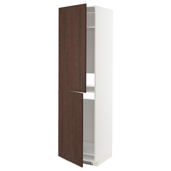 METOD Korkea kaappi jääkaap/pakastimelle, valkoinen/Sinarp ruskea, 60x60x220 cm