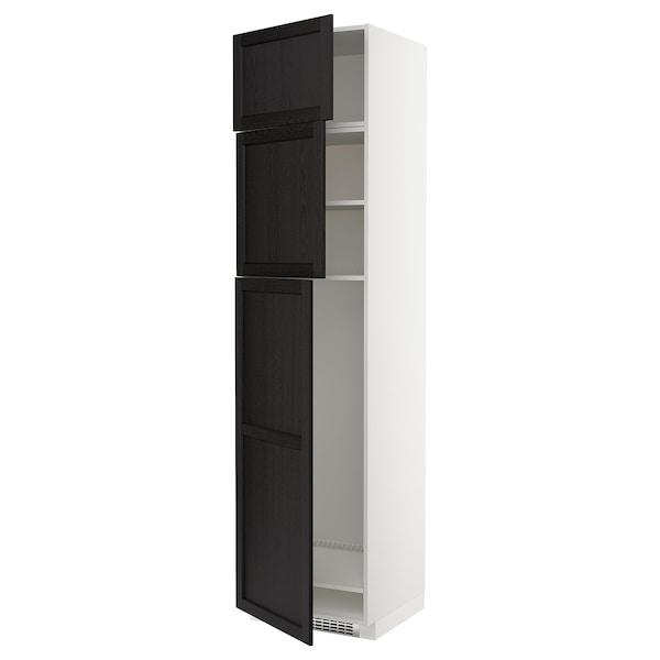 METOD Korkea kaappi jääkaapille 3 ovea, valkoinen/Lerhyttan mustaksi petsattu, 60x60x240 cm